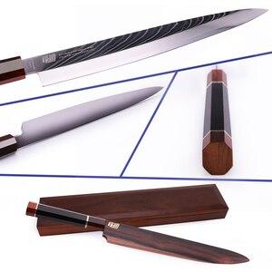 "Image 2 - 10.5"" Yanagiba Knife by Findking Prestige series 67 layers Japanese SKD11 damascus steel w/octagon handle sushi knife"
