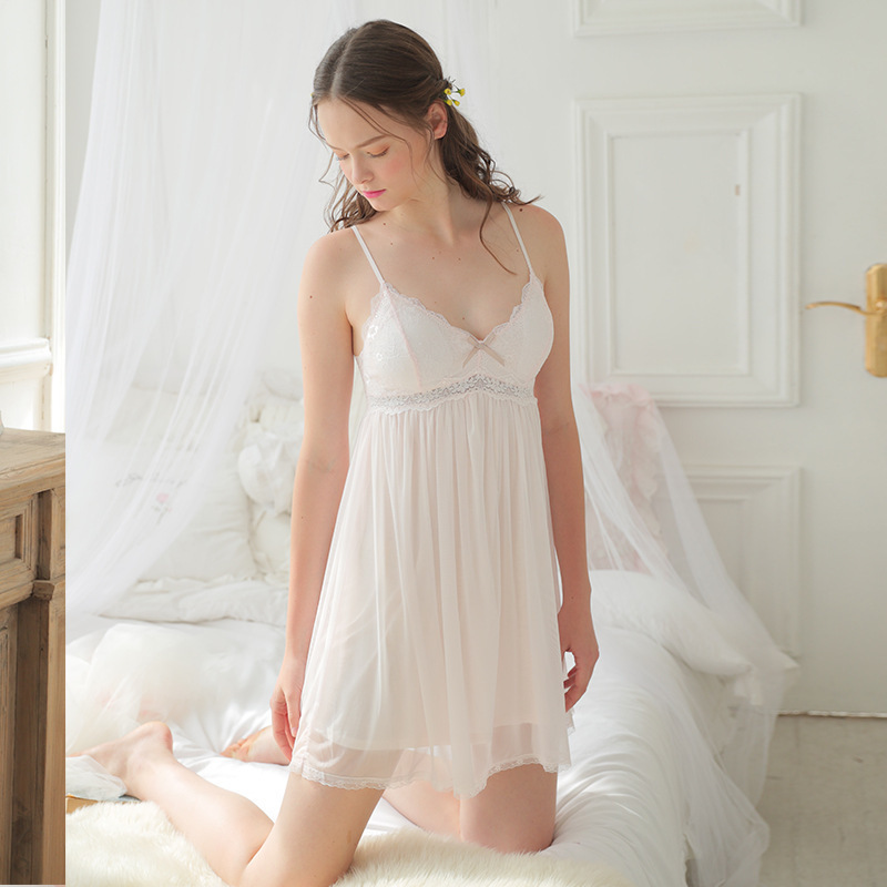 RenYvtil Sexy Nightdress Female Summer Sexy Strap Cotton Lace Princess Chest Pad Sleepdress Women Nightgown Dropshipping