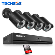 Techege 4CH 48V PoE NVR POE System 2.0MP Onvif PoE IP Camera Waterproof IP66 P2P Remote View XMEye Surveillance CCTV System