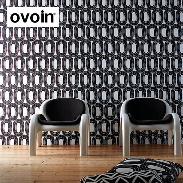 Modern Design Simple Minimalist Geometric Wallpaper Roll Blue Grey Black White Circular Pattern Wall Paper Bedroom
