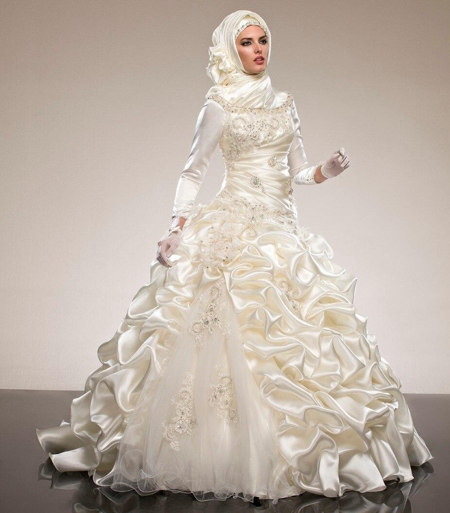 Saudi Arabia Abaya Long Sleeves Muslim Wedding Dresses