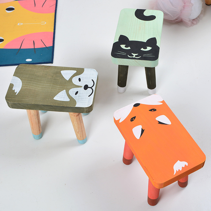 INS Scandinavian Creative Wooden Children's Stool Home Children's Furniture Wooden Stool Lovely Animals Chair Kids Stool