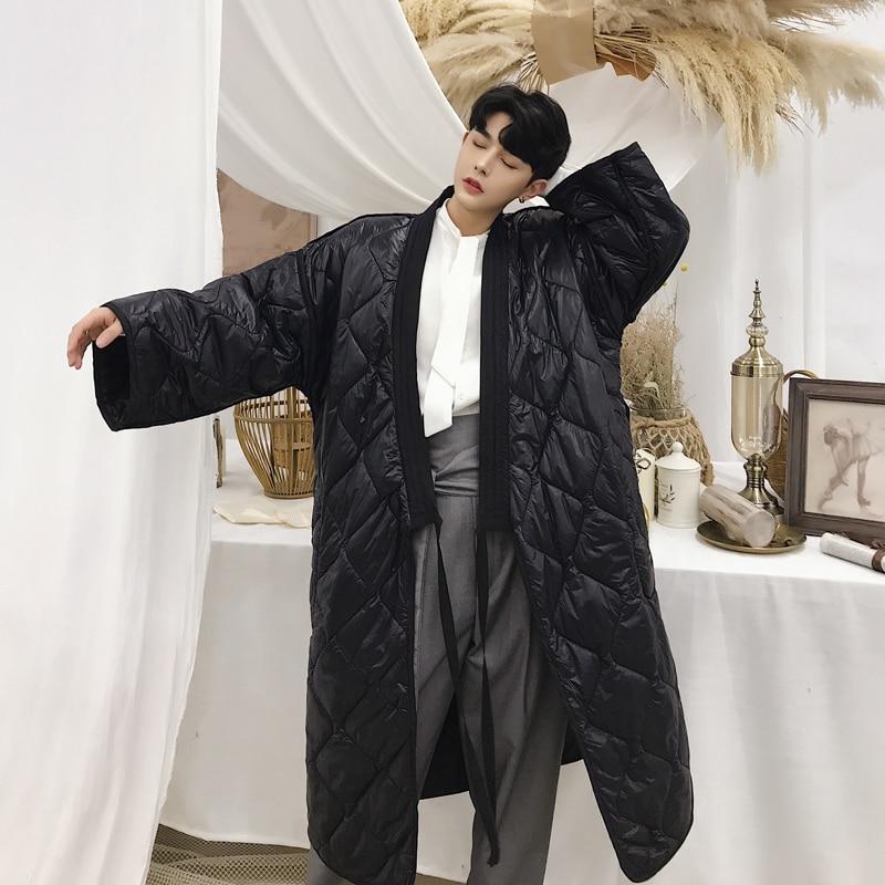 Men Winter Long Parkas Coat Cotton Padded Windbreaker Fashion Loose Robe Male Casual Japan Streetwear Kimono Jacket Overcoat-in Parkas from Men's Clothing    1