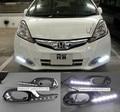 Для 2011-2012 Honda Fit Jazz Новый Хромирования Версия DRL Белый СВЕТОДИОД Дневного Света Дневного Света с противотуманной фары крышка, быстрая доставка
