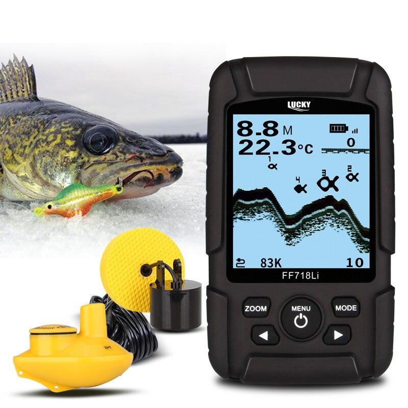 FORTUNATO FF718LiD Fish Finder 200 KHz/83 KHz Dual Sonar di Frequenza 100 M Profondità di Allarme di Rilevamento Muti-lingua Detector Reale-impermeabile