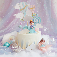 Ins Rainbow Cake Topper Boy Girl Crane  Happy Birthday Pink Blue Decorations  for Childrens Day Party Supplies Sweet Gifts