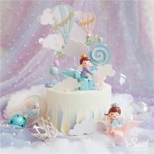Ins Rainbowเค้กTopperสาวCrane Happyวันเกิดสีชมพูตกแต่งสำหรับเด็กวันอุปกรณ์พรรคของขวัญหวาน