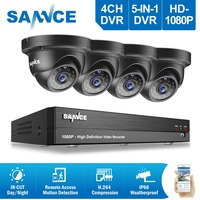 SANNCE 4CH 1080P HD CCTV System 1080P DVR Kit 4pcs 2.0MP outdoor Security Cameras System IR night Video Surveillance Kit