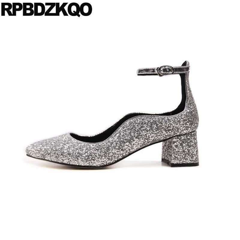4d2bcc24fba2 medium heels sequin block silver prom women ankle strap dress shoes glitter  black thick 2018 party