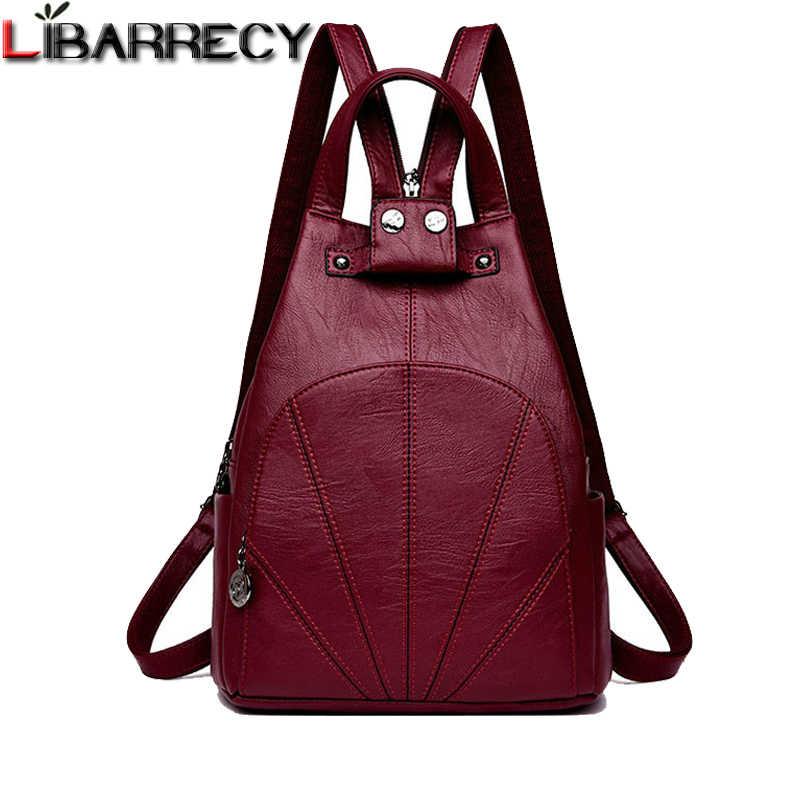 3de5e05e98e2 Модный рюкзак женский Противоугонный карман школьные сумки для девочек  Повседневная дорожная сумка Качественная кожаная сумка на
