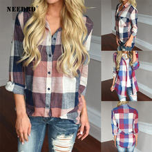 NEEDBO Women Blouses and Shirts Plus Size Casual Office Plaid Tops Long Sleeve Ladies Cotton