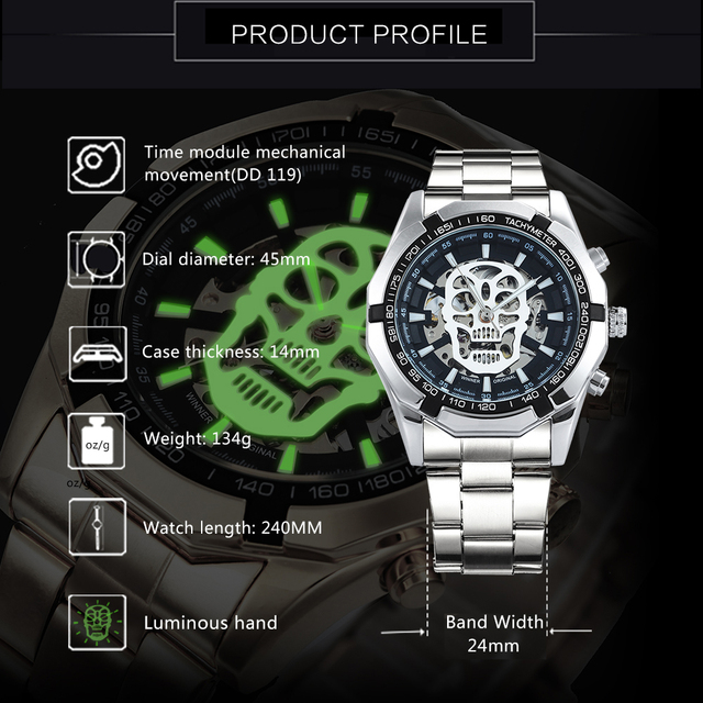 AUTO MECHANICAL SKELETON SKULL WATCHES (8 VARIAN)