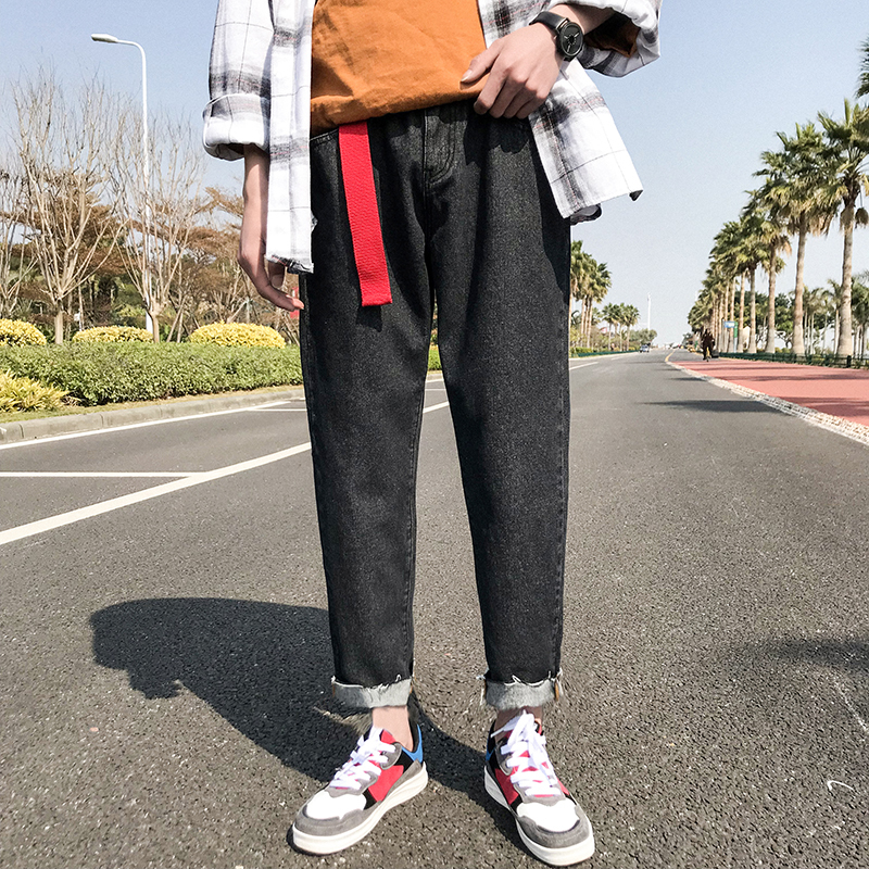 2018 Spring Newest Mens Japanese Style Fashion Concise Tide Cowboy Wide Leg Pants Loose Casual Black/Blue Jeans Trousers M-2XL