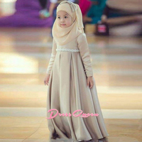 2017 New Lovely Khaki Muslim Flower Girl Dress With Hijab Bow Turban Communion Gown Pageant Dresses