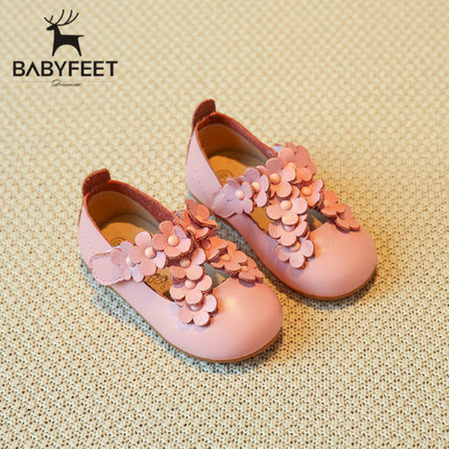 2017 babyfeet Spring and Autumn children shoes 1-3 years old baby girls princess Child girl toddle shoes breathable Cow Leather