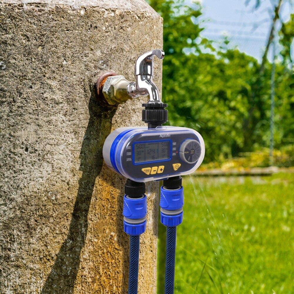 Новое поступление два выхода сад цифровой электронный таймер воды Соленоидный клапан Сад Орошение контроллер для сада, двора #21060