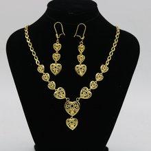 Кулон в виде сердца + серьги ювелирный набор желтое золото заполненные