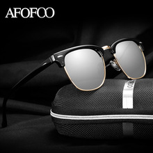 AFOFOO Unisex HD Polarized Sunglasses Classic Brand Designer Half Frame Women Men Driving Sun glasses UV400 Shades For Male