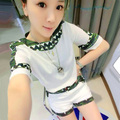 SUmmer New Style Women's Casual Shorts Suit, Short sleeve Appliques Patchowrk Pullover shirt + hot pants Set