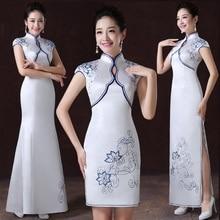 Белый женский цветок Qipao восточный женский улучшенный Cheongsam китайский невесты печатных атласное свадебное платье vestidos XS-XXL