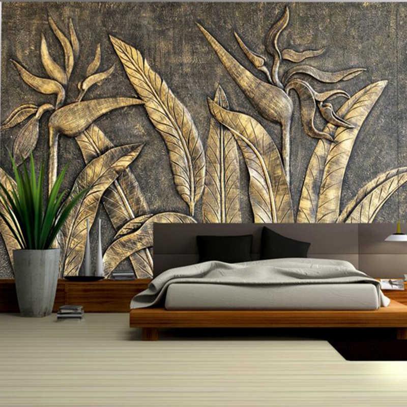Emas Burung Wallpaper Paradise Patung Dekorasi Rumah Kamar Tidur Foto Mural Wallpaper Dekorasi Dinding Ruang Tamu Wallpaper Kertas Desain Aliexpress