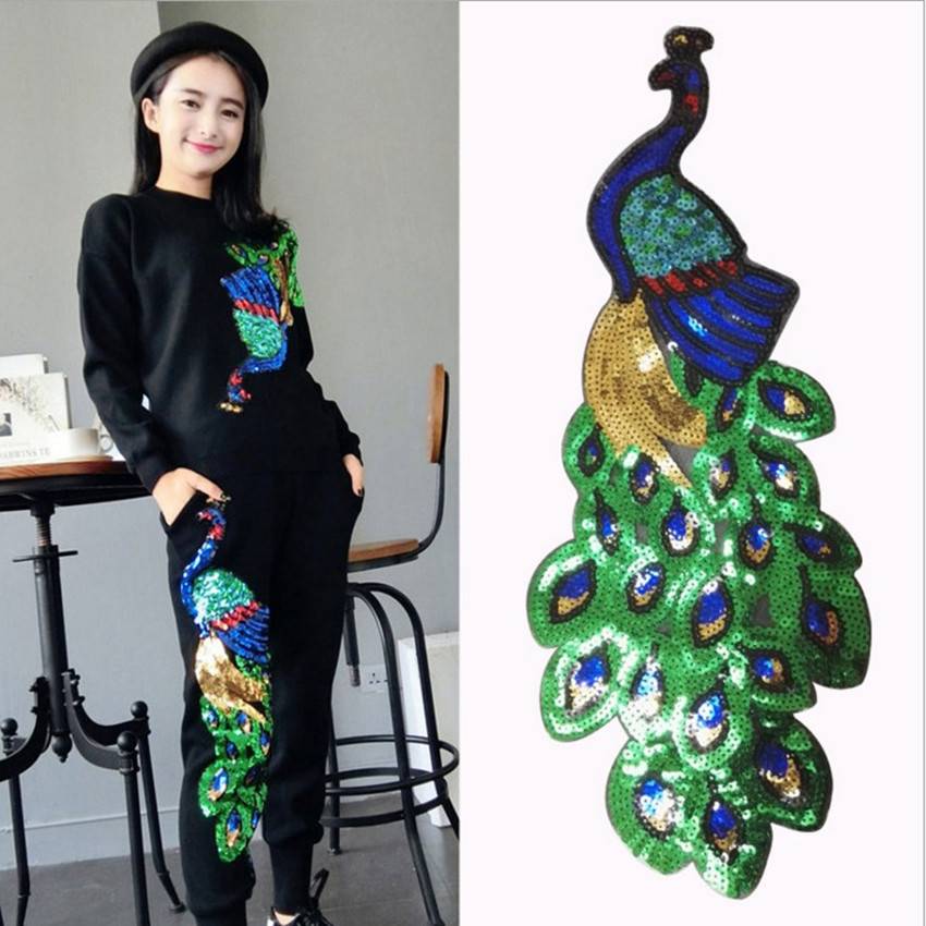 1pcs Colorful Sequin Peacock Embroidery Fabric Large Applique Patch Африка шілтері Iron On Dress мата Сәндік аксессуарлар Ди