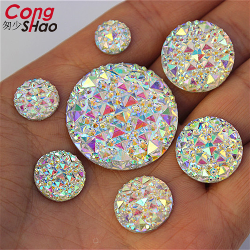 Cong Shao 10/12/14/16/18/20/30mm Round Stones And AB Crystals Flat Back Resin Rhinestone Applique DIY Wedding Dress Beads WC40HB