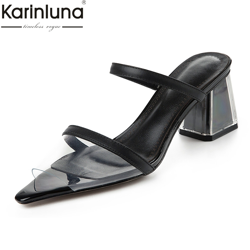 Karinluna Fashion Genuine Leather Sheepskin Summer Women Shoes Lady Sexy Party Shoes Woman Chunky Heels Mules PumpsKarinluna Fashion Genuine Leather Sheepskin Summer Women Shoes Lady Sexy Party Shoes Woman Chunky Heels Mules Pumps