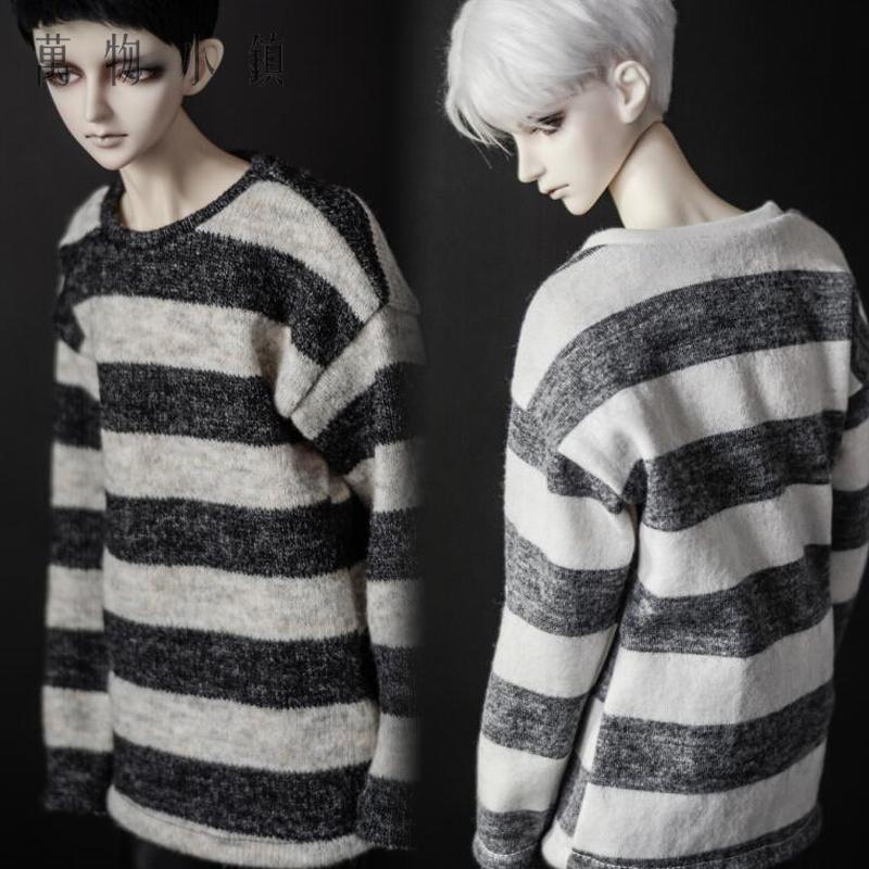 NEW 1/3 1/4 BJD SD MSD Doll Clothes gray /brown Stripe T-shirt/Tops handsome grey woolen coat belt for bjd 1 3 sd10 sd13 sd17 uncle ssdf sd luts dod dz as doll clothes cmb107