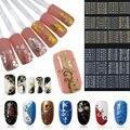 12 Pc/Set Hot Metallic Beleza Ouro Prata Flor 3D Art Nail Stickers Decalques Decoração Manicure Ferramentas