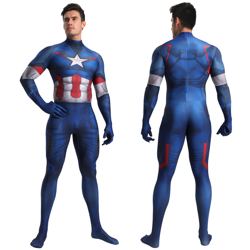 Captain America Cosplay Costume Zentai Superhero Bodysuit Adults Kids Unisex One-Piece Tight Suit Spandex Jumpsuits