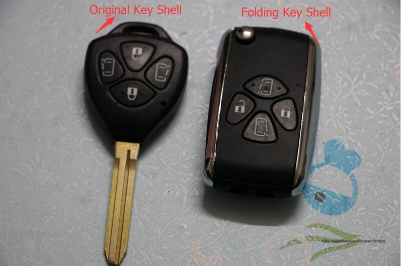 Ynavi ключеник автомобиль с 4 кнопки FOB ЗАМЕНА пустой чехол Флип складной удаленный ключевой Uncut для Toyota Camry с логотипом
