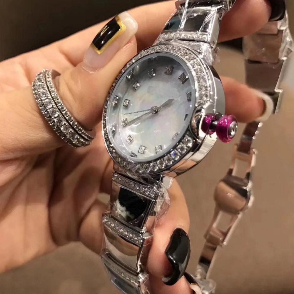 316L edelstahl 33mm runde weiß mutter der perle Zifferblatt CZdimonds dame Quarz Armbanduhr designer uhr für frauen-in Damenuhren aus Uhren bei  Gruppe 2