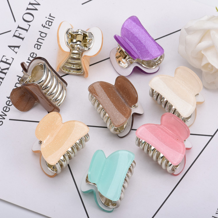 2018 New Arrival Korean Brand Hair Accessories For Women Colors Acrylic Hair Claw Clips Plastic Gold Plating Crab For Hairdress
