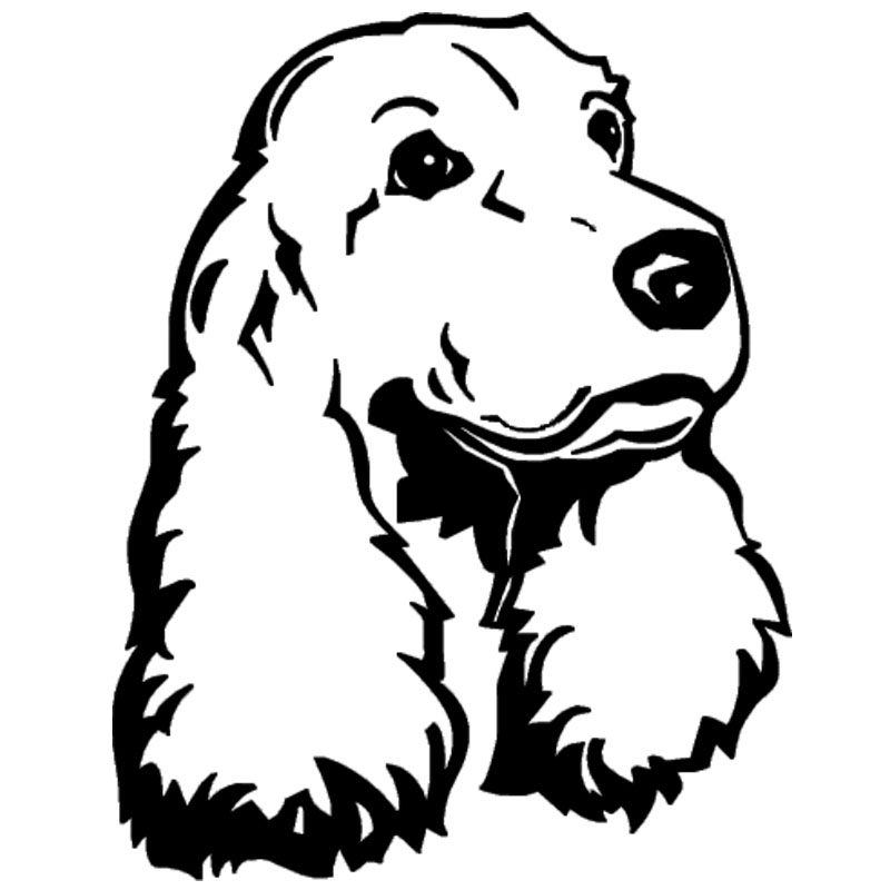12.6*16CM Cocker Spaniel Dog Car Stickers Lovely Vinyl Decal Car Styling Motorcycle Decoration Black/Silver S1-1005