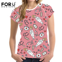 FORUDESIGNS Pink Ketch Medical Printing O Neck Short Sleeve T Shirt Female Casual Summer Tee Shirt