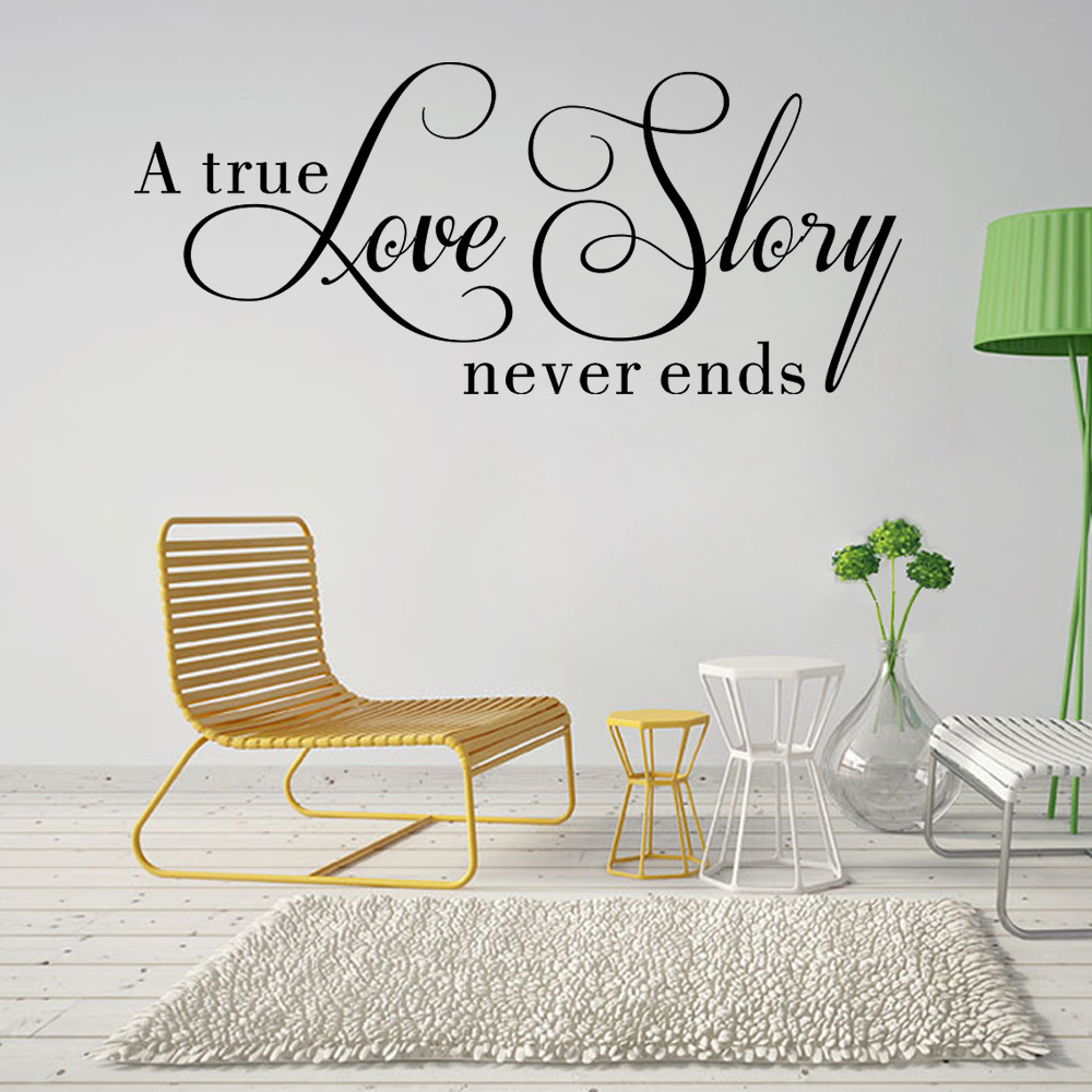 A True Love Story Never Ends Quotes Wall Stickers Room Decor House