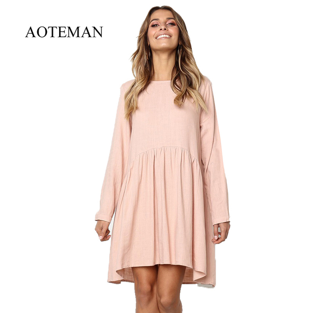 AOTEMAN Summer Dress Women 2019 Solid O-Neck Long Sleeve Cotton Linen Pleated Dress Female Elegant Beach Party Dresses Vestidos