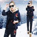 2016 Autumn Winter Women Fleece Three-Piece Clothing Set Hooded Casual Suit Female Slim Sportswear Vest Long Trousers 4colors