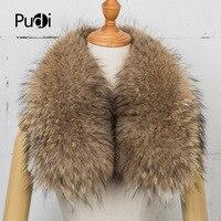 Pudi SF735 Women Men Real Genuine Raccoon Fur Collar Scarf Shawl Wrap Neck Warmer Scarves 85*17cm customized
