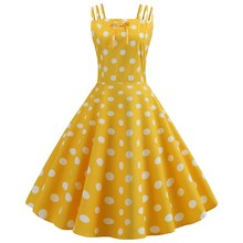 купить Summer Spaghetti Strap Polka Dot Vintage Dress Girls Sexy Pin Up Rockabilly Party Dress Robe Women Casual Midi Dress дешево