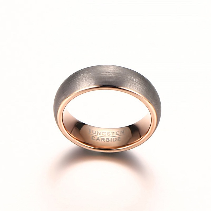 New Rose Gold Color 8mm Tungsten Carbide Wedding Band Ring High Quality Fashion Men Engagement Jewelry In Bands From