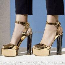 새로운 패션 여성 오픈 발가락 골드 높은 플랫폼 Chunky 뒤꿈치 펌프 미러 특허 가죽 발목 스트랩 하이힐 드레스 신발