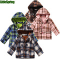 LittleSpring XLS Retail  sutumn&winter new Children's hooded sweater fleece button plaid hoodies kids clothes
