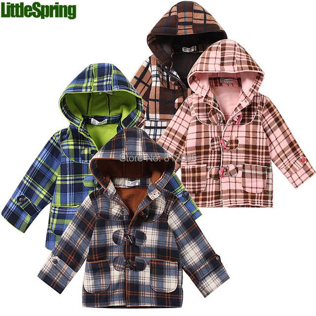 XLS LittleSpring Varejo sutumn & inverno nova camisola com capuz de lã botão xadrez hoodies roupa dos miúdos das Crianças