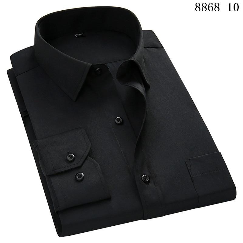 4XL 5XL 6XL 7XL 8XL Large Size Men's Business Casual Long Sleeved Shirt White Blue Black Smart Male Social Dress Shirt Plus 12