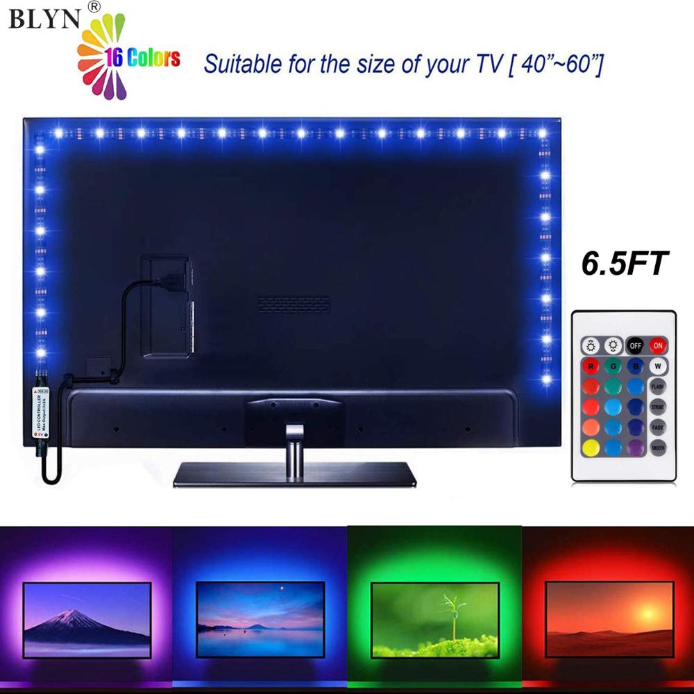 <font><b>5V</b></font> USB <font><b>LED</b></font> Strip <font><b>5050</b></font> 60LED/M Bias HDTV Back Light 24Key Remote WIFI Smart Phone RGB Controller 1M 2M 5M TV <font><b>LED</b></font> Tape Ribbon image