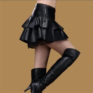 Image 2 - Lady Oversized Herfst Hoge Taille Lederen Rok Pu Lace Splice Mini Een Lijn Rokken Vrouw Plus Size Zwarte Rok Vrouwelijke winter Rok