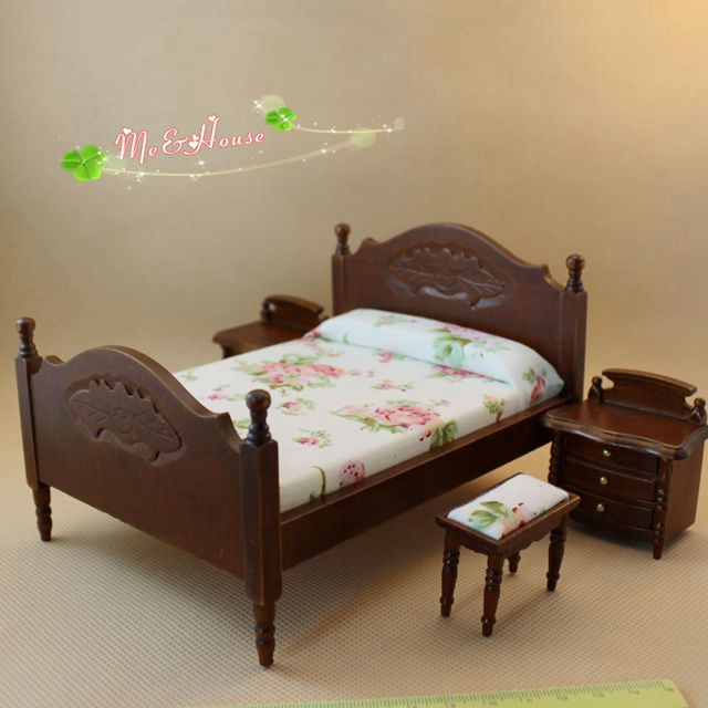 1 12 Scale Miniature Set 4 Bedroom Set Wooden Dollhouse Furniture Bed Ottoman And Night Table Dolls Miniatures Free Shipping Dollhouse Furniture Wood Dollhouse Furnituredollhouse Bed Aliexpress