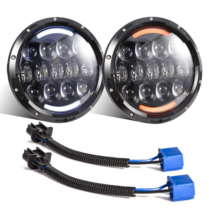 1 set for JEEP 7'' INCH 105W LED Projector headlight Hi/Low beam Indicator Turn Signal Driving light for Wrangler JK TJ hummer super bright 105w 7 inch for jeep wrangler jk led driving light 7 high low beam with yellow turn signal led car headlight